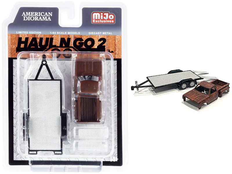 Haul N Go 2 Trailer Rusted Truck Body Diecast Set 2 pieces 1/64 Scale Models American Diorama 38378