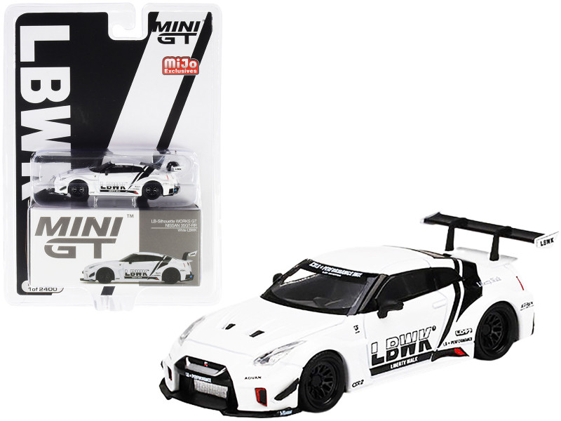 Nissan 35GT-RR Ver.1 LB-Silhouette Works GT LBWK White Black Stripes Limited Edition 2400 pieces Worldwide 1/64 Diecast Model Car True Scale Miniatures MGT00209