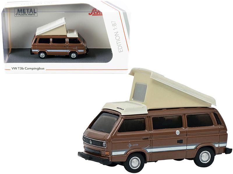 Volkswagen T3b Joker Camper Bus Pop-Top Roof Brown Cream 1/87 HO Diecast Model Schuco 452660600