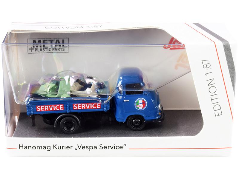 Hanomag Kurier Transporter Vespa Service Blue 2 Vespas Green and Cream 1/87 HO Diecast Models Schuco 452661400