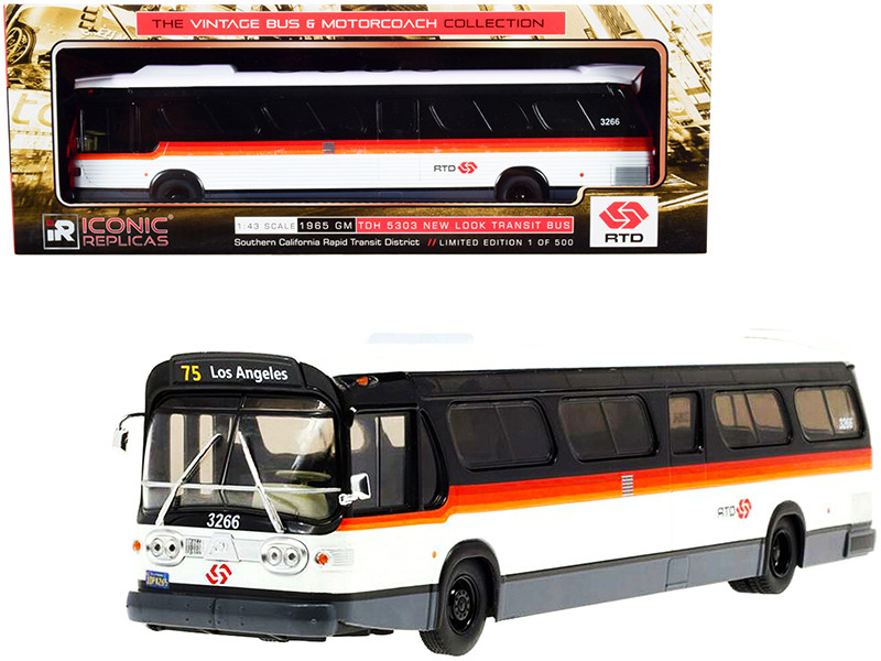 1965 GM TDH 5303 New Look Transit Bus #75 Los Angeles RTD Southern California Rapid Transit District White Black Stripes The Vintage Bus & Motorcoach Collection Limited Edition 500 pieces Worldwide 1/43 Diecast Model Iconic Replicas 43-0293