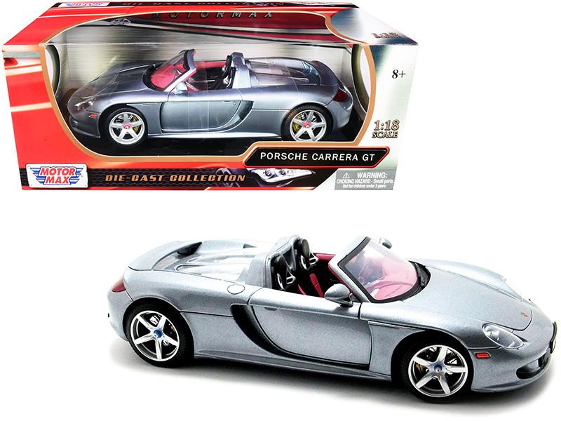 Porsche Carrera GT Convertible Silver Metallic Red Interior 1/18 Diecast Model Car Motormax 73163