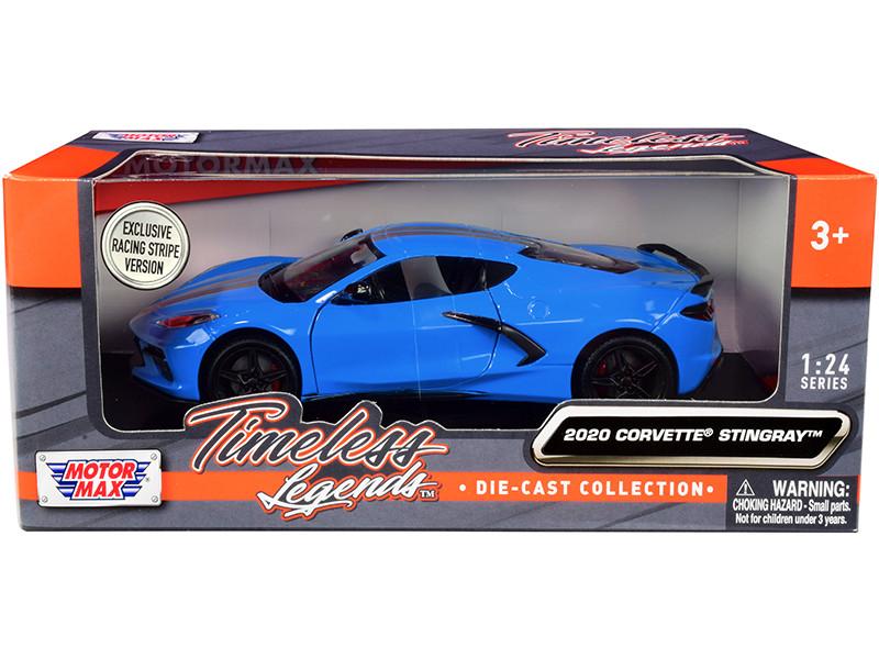 2020 Chevrolet Corvette C8 Stingray Blue Silver Racing Stripes Timeless Legends 1/24 Diecast Model Car Motormax 79360