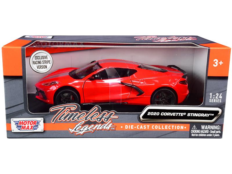 2020 Chevrolet Corvette C8 Stingray Red Silver Racing Stripes Timeless Legends 1/24 Diecast Model Car Motormax 79360