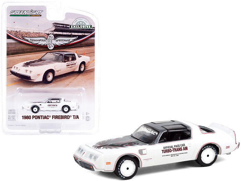 1980 Pontiac Firebird Trans Am T/A White Black Top Official Pace Car 64th Annual Indianapolis 500 Mile Race Hobby Exclusive 1/64 Diecast Model Car Greenlight 30226