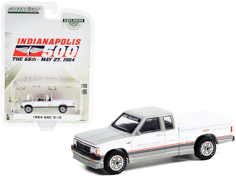 1984 GMC S-15 Extended Cab Pickup Truck Bed Cover Gray White Indy Hauler Official Truck 68th Annual Indianapolis 500 Mile Race Hobby Exclusive 1/64 Diecast Model Car Greenlight 30230