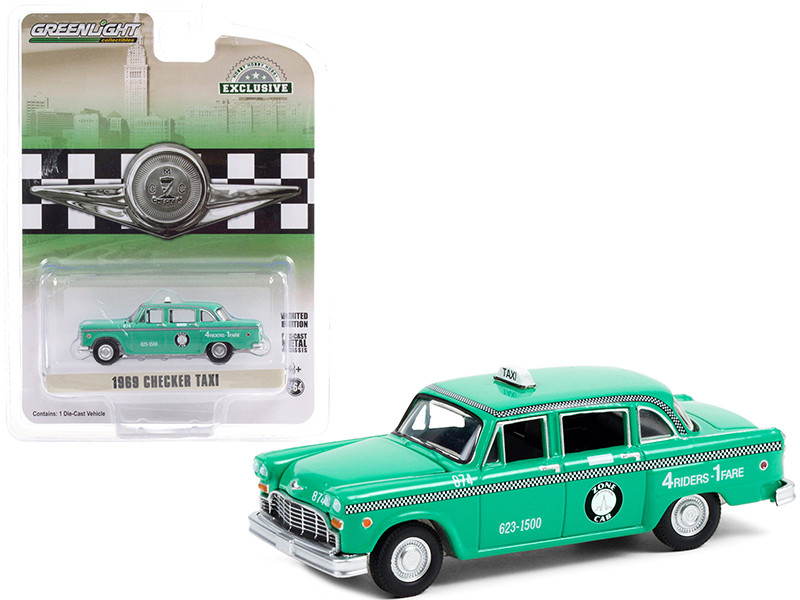 1969 Checker Taxi Light Green Zone Cab Co. Hobby Exclusive 1/64 Diecast Model Car Greenlight 30232