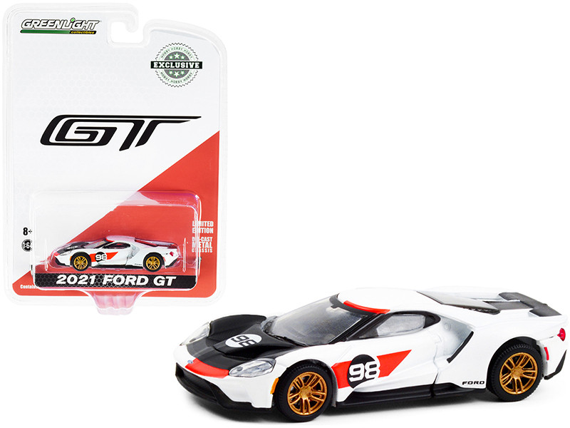 2021 Ford GT #98 White Ford GT Heritage Edition Ken Miles Lloyd Ruby 1966 24H of Daytona MKII Tribute Hobby Exclusive 1/64 Diecast Model Car Greenlight 30244