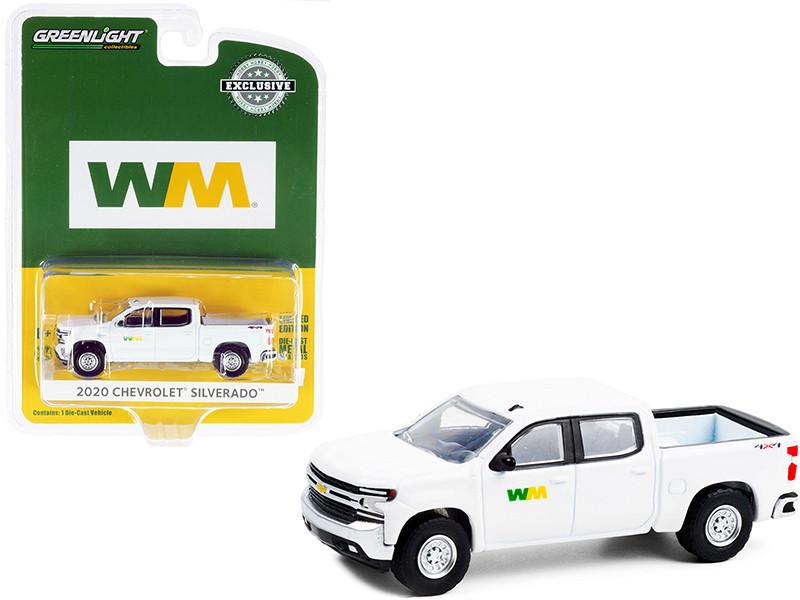 2020 Chevrolet Silverado Pickup Truck White WM Waste Management Hobby Exclusive 1/64 Diecast Model Car Greenlight 30255
