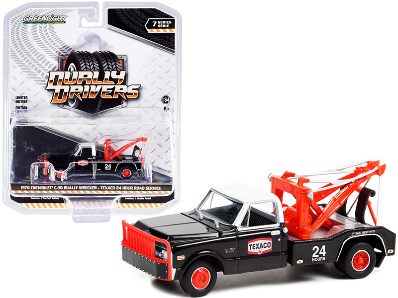 1970 Chevrolet C-30 Dually Wrecker Tow Truck Texaco 24 Hour Road Service Black Red White Top Dually Drivers Series 7 1/64 Diecast Model Car Greenlight 46070 B
