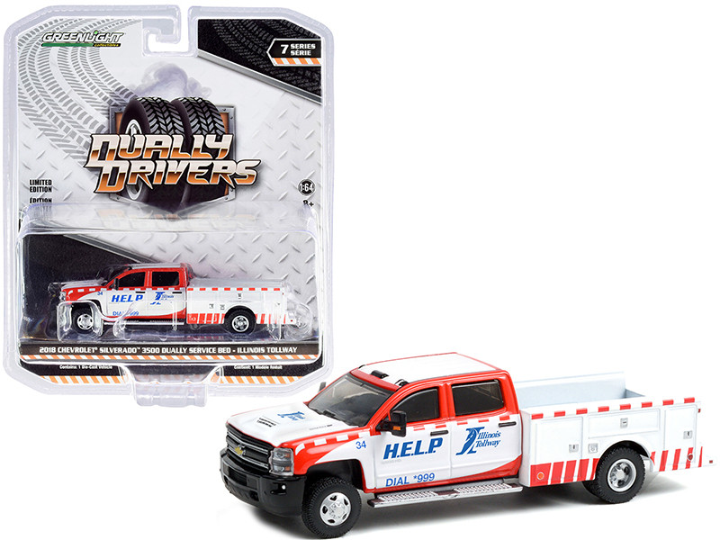 2018 Chevrolet Silverado 3500 Dually Service Bed Truck Illinois Tollway White Red Dually Drivers Series 7 1/64 Diecast Model Car Greenlight 46070 D