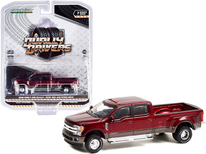 2019 Ford F-350 Dually Pickup Truck Ruby Red Stone Gray Dually Drivers Series 7 1/64 Diecast Model Car Greenlight 46070 F