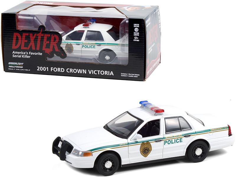 2001 Ford Crown Victoria Police Interceptor White Miami Metro Police Department Dexter 2006 2013 TV Series 1/24 Diecast Model Car Greenlight 84133