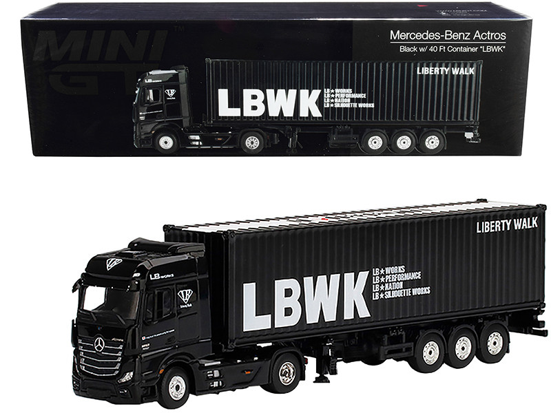 Mercedes Benz Actros RHD Right Hand Drive Trailer 40' Container LBWK Liberty Walk Black 1/64 Diecast Model True Scale Miniatures MGT00215
