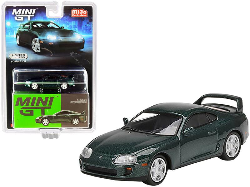 Toyota Supra JZA80 Dark Green Pearl Metallic Limited Edition 1200 pieces Worldwide 1/64 Diecast Model Car True Scale Miniatures MGT00230