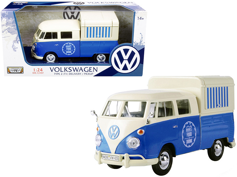 Volkswagen Type 2 T1 Pickup Food Truck Cream Blue 1/24 Diecast Model Car Motormax 79576