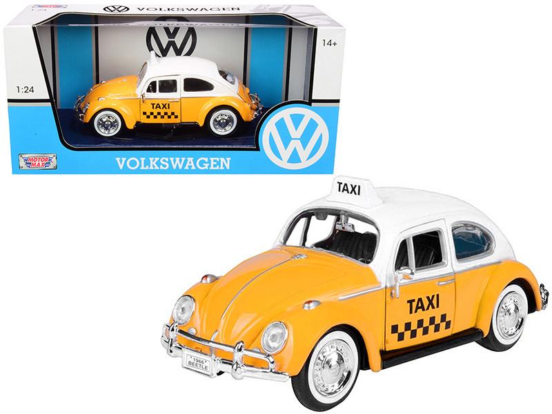 1966 Volkswagen Beetle Taxi Yellow White Top 1/24 Diecast Model Car Motormax 79577