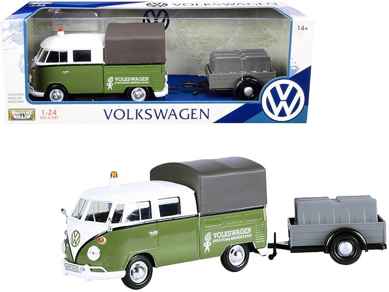 Volkswagen T1 Pickup Canopy Green White Trailer Road Service 1/24 Diecast Model Car Motormax 79676