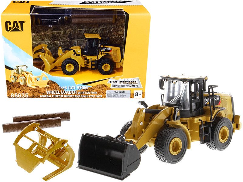 CAT Caterpillar 950M Wheel Loader Bucket Log Fork Two Log Poles Play & Collect! 1/64 Diecast Model Diecast Masters 85635