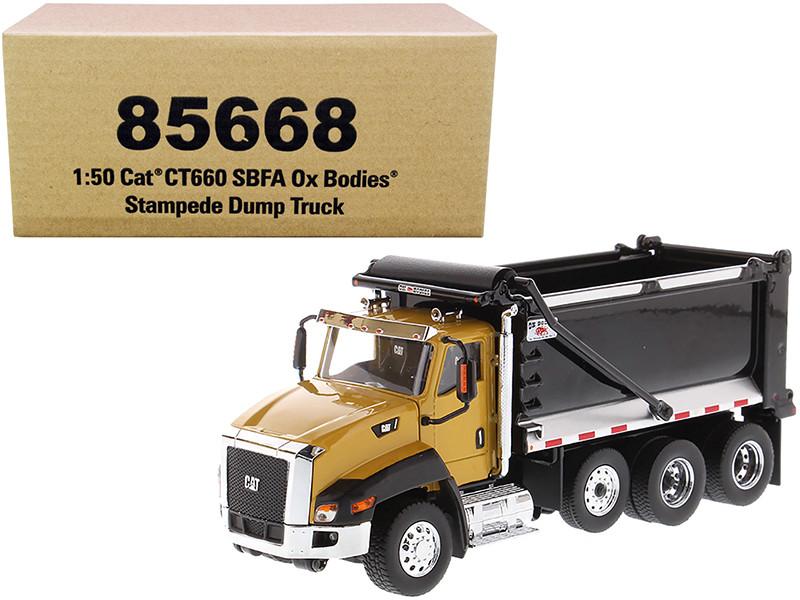 CAT Caterpillar CT660 SBFA Ox Bodies Stampede Dump Truck Yellow Black 1/50 Diecast Model Diecast Masters 85668