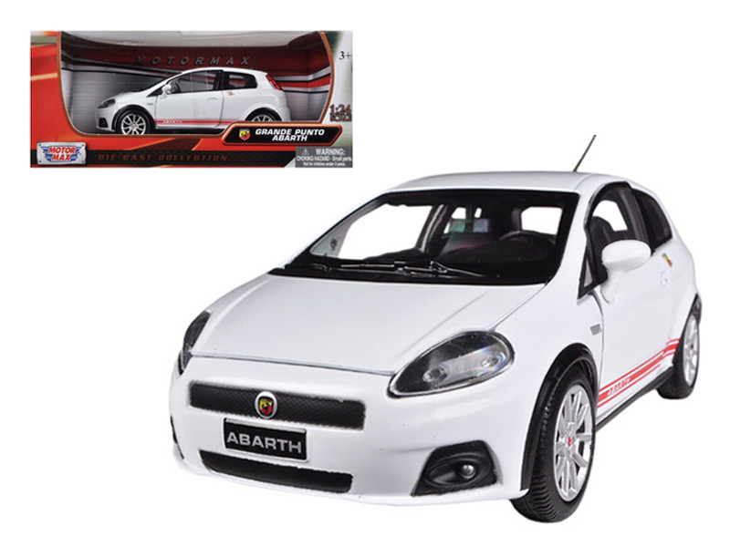Fiat Grande Punto Abarth White 1/24 Diecast Car Model Motormax 73381