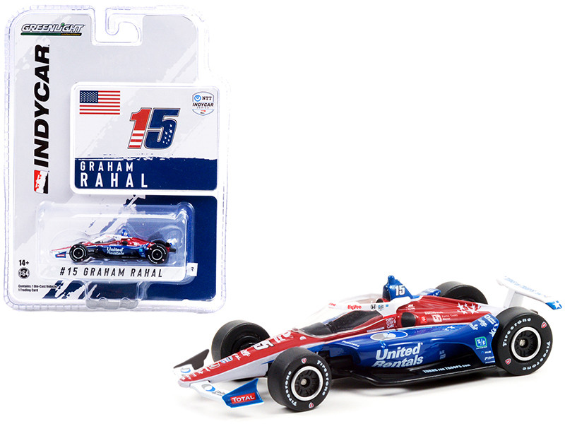 Dallara IndyCar #15 Graham Rahal United Rentals Rahal Letterman Lanigan Racing NTT IndyCar Series 2021 1/64 Diecast Model Car Greenlight 11511