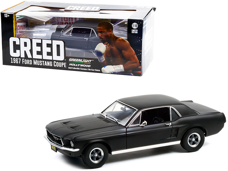 1967 Ford Mustang Coupe Matt Black Adonis Creed's Creed 2015 Movie 1/18 Diecast Model Car Greenlight 13611