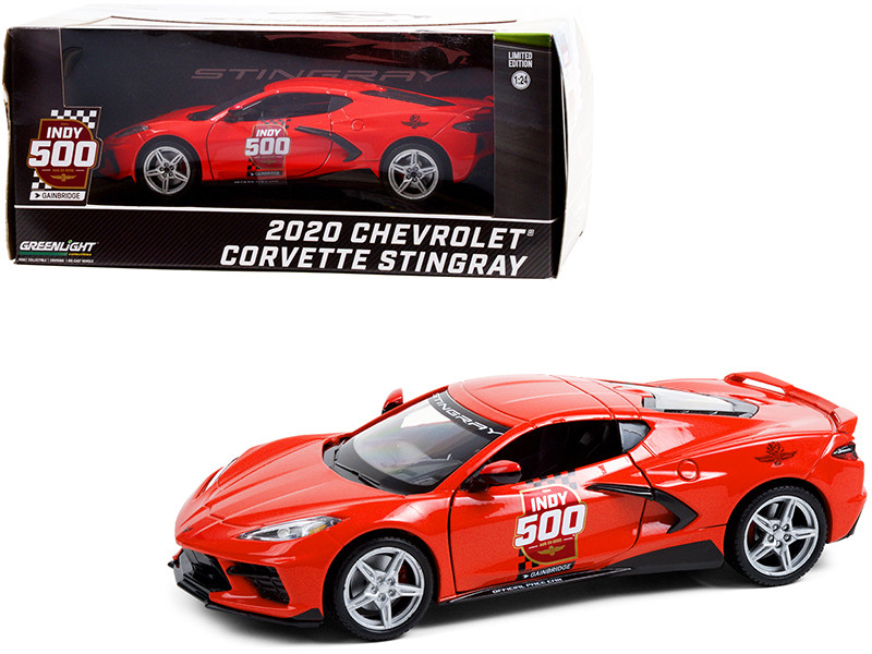 2020 Chevrolet Corvette C8 Stingray Coupe Red Official Pace Car 104th Running of the Indianapolis 500 1/24 Diecast Model Car Greenlight 18258