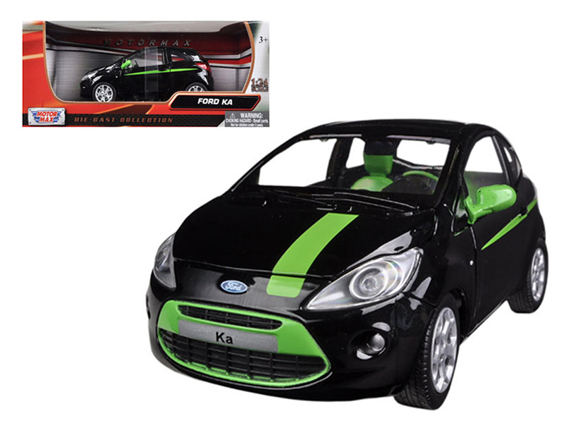Ford Ka Black / Green 1/24 Diecast Car Model Motormax 73382