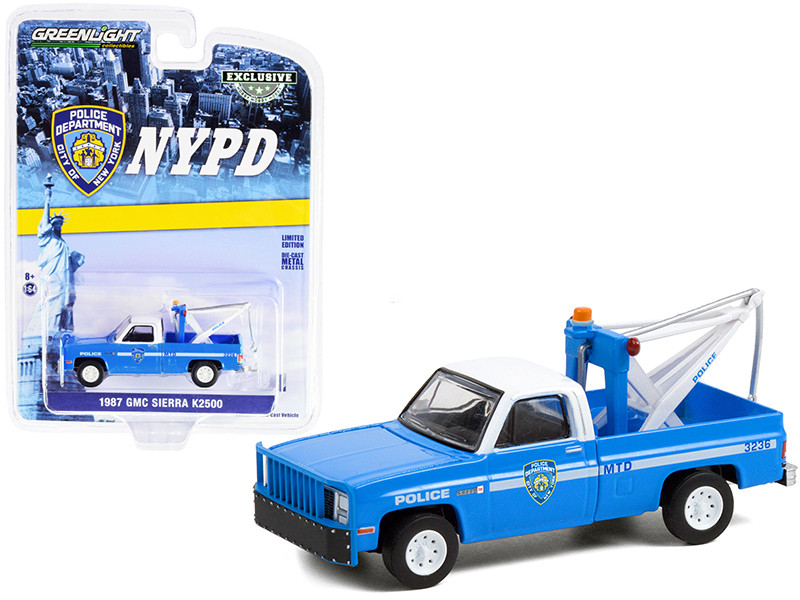 1987 GMC Sierra K2500 Tow Truck Drop in Tow Hook Blue White Top New York City Police Dept NYPD Hobby Exclusive 1/64 Diecast Model Car Greenlight 30236