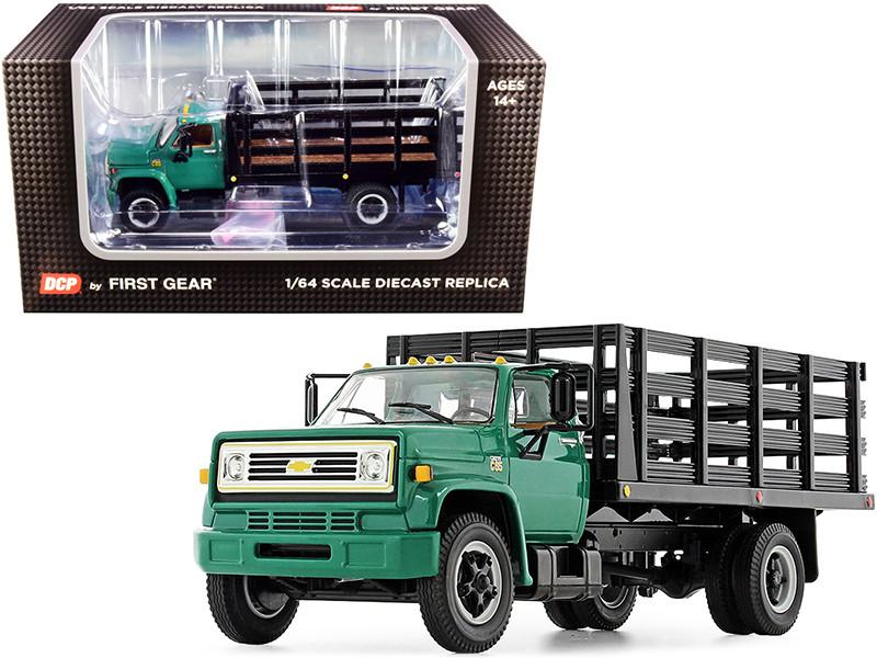 Chevrolet C65 Stake Truck Green Black 1/64 Diecast Model DCP First Gear 60-0918