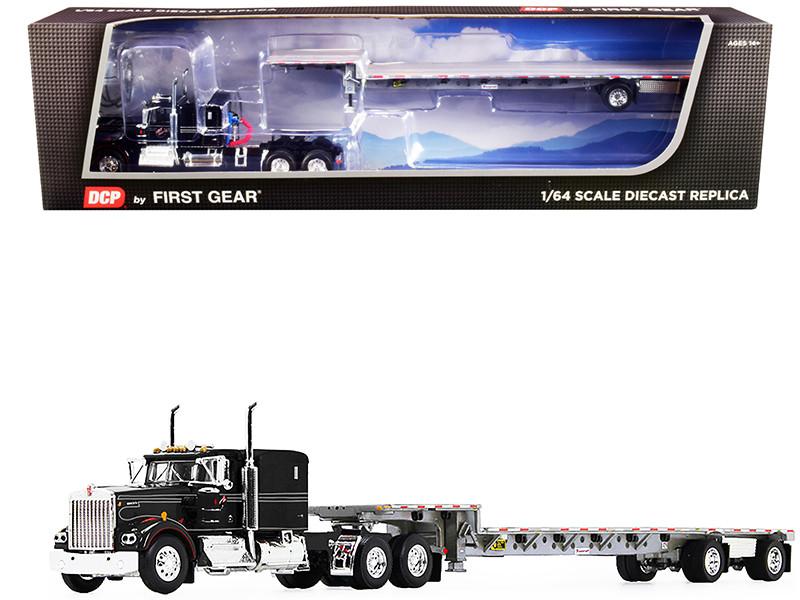"Kenworth W900A 60"" Flattop Sleeper Cab Transcraft Stepdeck Spread-Axle Trailer IMT Transport Black 1/64 Diecast Model DCP First Gear 60-1016"