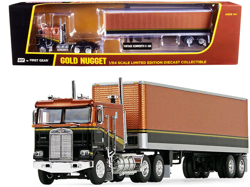 "Kenworth K100 COE Flattop Cab 40"" Vintage Dry Goods Trailer Gold Nugget Gold Black 1/64 Diecast Model DCP First Gear 69-1031"