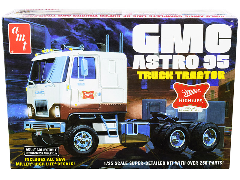 Skill 3 Model Kit GMC Astro 95 Truck Tractor Miller 1/25 Scale Model AMT AMT1230