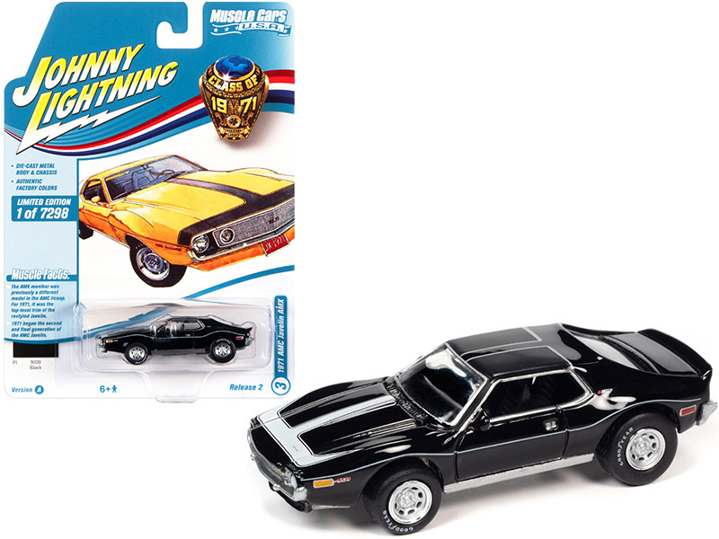 1971 AMC Javelin AMX Black White Stripes Class of 1971 Limited Edition 7298 pieces Worldwide Muscle Cars USA Series 1/64 Diecast Model Car Johnny Lightning JLMC026 JLSP152 A
