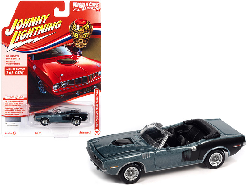 1971 Plymouth Barracuda Convertible Winchester Gray Metallic Black Hemi Side Billboards Class of 1971 Limited Edition 7418 pieces Worldwide Muscle Cars USA Series 1/64 Diecast Model Car Johnny Lightning JLMC026 JLSP153 B