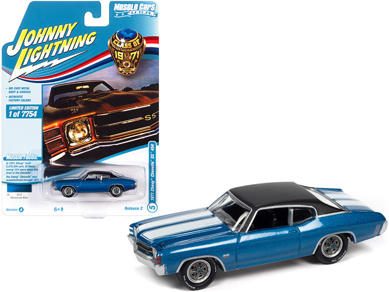 1971 Chevrolet Chevelle SS 454 Mulsanne Blue Metallic Flat Black Top White Stripes Class of 1971 Limited Edition 7754 pieces Worldwide Muscle Cars USA Series 1/64 Diecast Model Car Johnny Lightning JLMC026 JLSP154 A