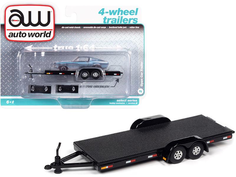 4-Wheel Open Car Trailer Black 1/64 Diecast Model Autoworld AWSP071 B