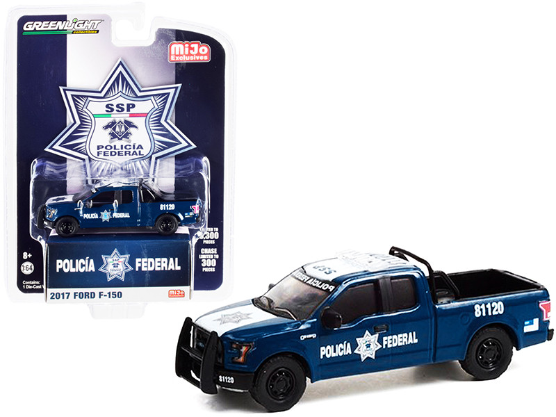 2017 Ford F-150 Pickup Truck Dark Blue White Policia Federal Mexico Federal Police Limited Edition 3300 pieces Worldwide 1/64 Diecast Model Car Greenlight 51380