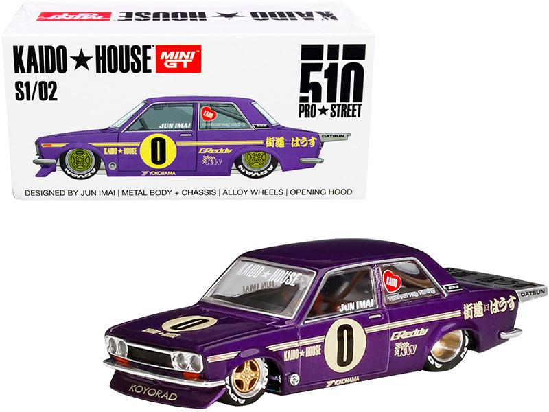 Datsun 510 Pro Street OG Purple KaidoHouse Special 1/64 Diecast Model Car True Scale Miniatures KHMG002
