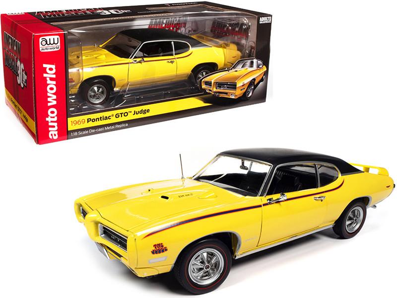 1969 Pontiac GTO Judge Goldenrod Yellow Vinyl Black Top American Muscle 30th Anniversary 1991 2021 1/18 Diecast Model Car Autoworld AMM1252