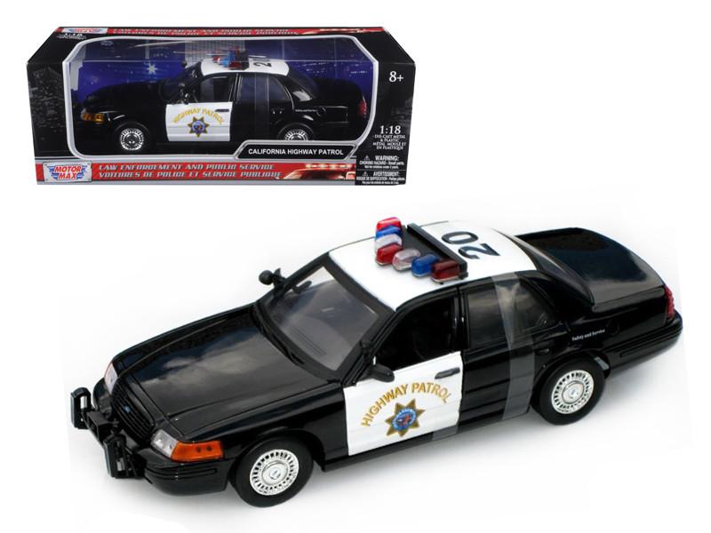 Ford Crown Victoria California Highway Patrol Car CHP Black/White 1/18 Diecast Model Car Motormax 73501