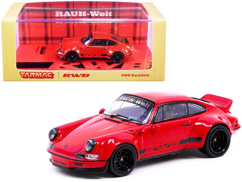Porsche RWB Backdate Red Black Stripes 1/64 Diecast Model Car Tarmac Works T64-046-RE
