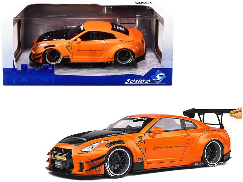 2020 Nissan GT-R R35 Type 2 LB Work RHD Right Hand Drive Orange Metallic Black Hood 1/18 Diecast Model Car Solido S1805803
