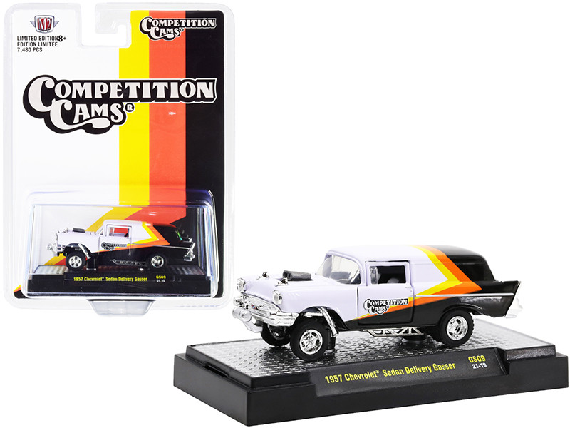 1957 Chevrolet Sedan Delivery Gasser Competition Cams White Black Yellow Orange Stripes Limited Edition 7480 pieces Worldwide 1/64 Diecast Model Car M2 Machines 31600-GS09