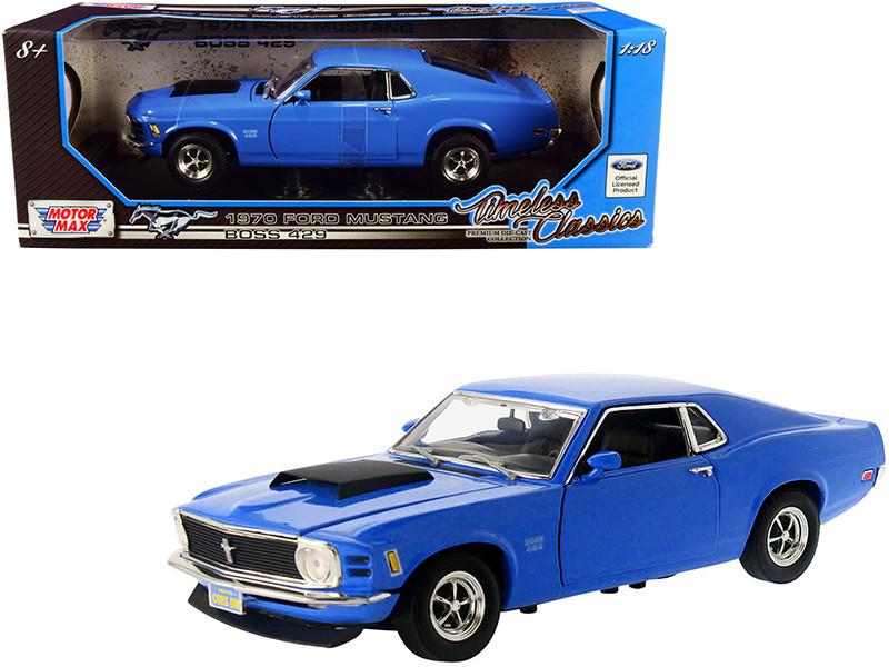1970 Ford Mustang Boss 429 Blue Timeless Classics Series 1/18 Diecast Model Car Motormax 73154