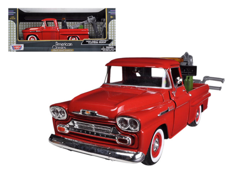 1958 Chevrolet Apache Fleetside Pickup Tow Truck Red 1/24 Diecast Model Car Motormax 75343