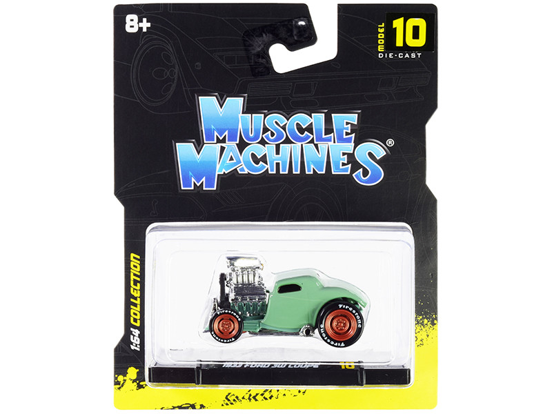 1933 Ford 3W Coupe Light Green 1/64 Diecast Model Car Muscle Machines 15546