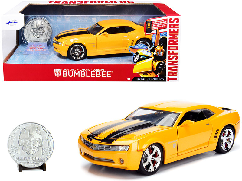 2006 Chevrolet Camaro Concept Yellow Bumblebee Robot on Chassis Collectible Metal Coin Transformers Movie 1/24 Diecast Model Car Jada 98497