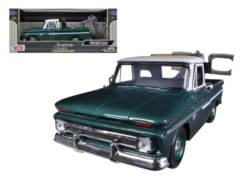 1966 Chevrolet C-10 Fleetside Tow Truck Green 1/24 Diecast Model Motormax 75344